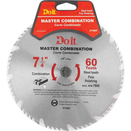 Do it Master Combination 7-1/4 In. 60-Tooth Crosscut/Rip Circular Saw Blade