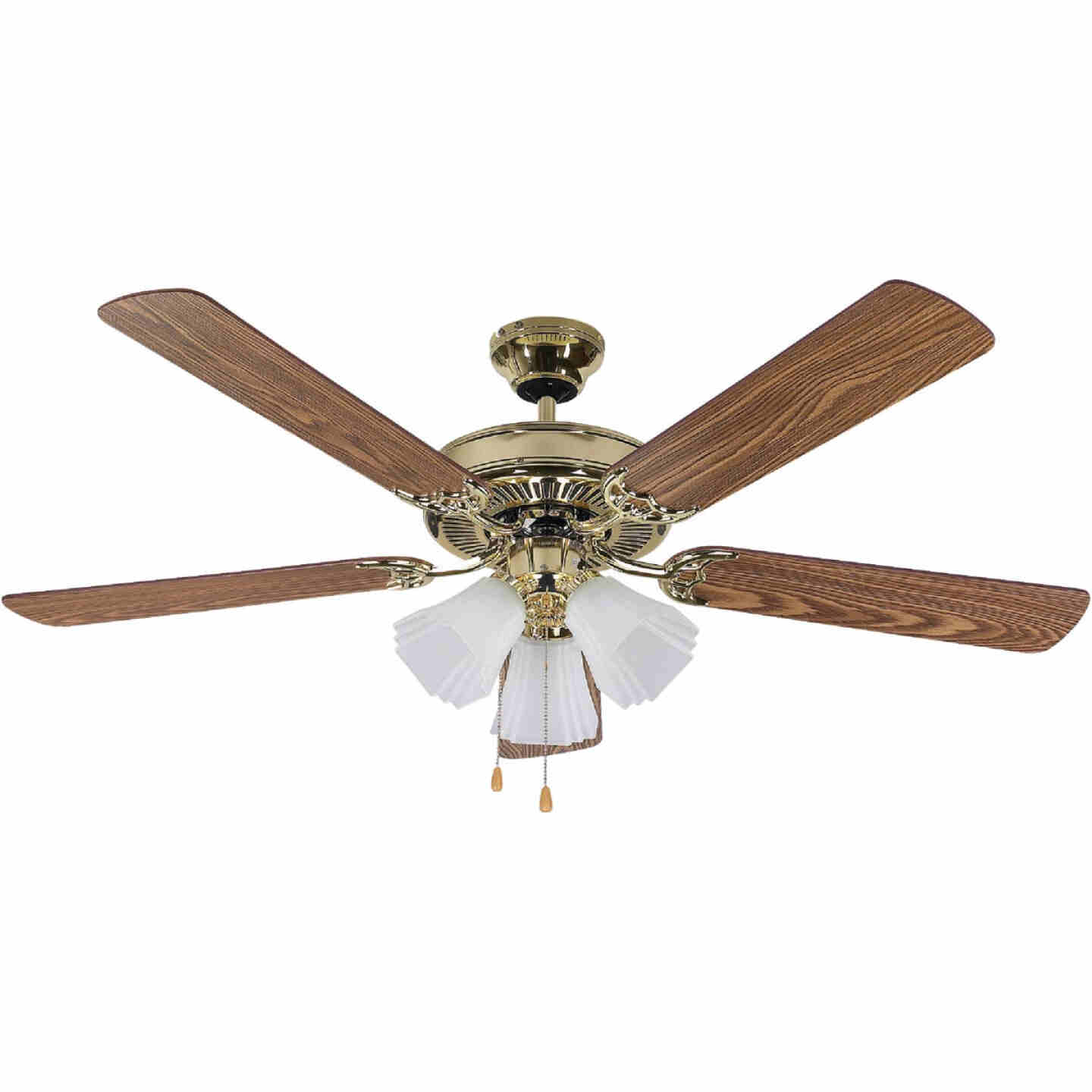 Home Impressions Sherwood 52 In. Polished Brass Ceiling Fan with Light Kit Image 1